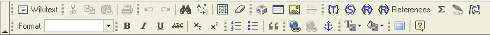 Image of the GCPEDIA rich editor toolbar